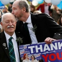 Larry Lamont and Jerry Slater, from Kirkcudbright, celebrate outside the Scottish Parliament at the final Equality Network rally for equal marriage on 4 February 2014