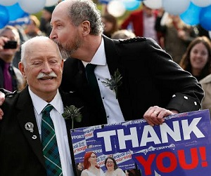 Larry and Jerry celebrate at the final Equality Network rally for equal marriage, 4 February 2014