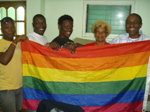Orin Jerrick (second from the left) is the founder of MESH, a new activist group for LGBT people in Antigua
