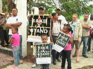 Campaigners against the decriminalisation of homosexuality in Belize
