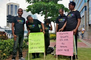 Coalition Advocating for Inclusion of Sexual Orientation (CAISO) members campaigning during IDAHOT