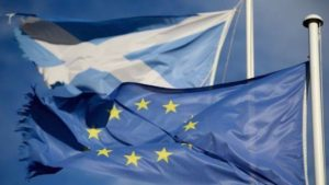 EU and Scottish flags